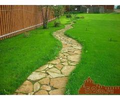 Природный камень, мульча, рулонный газон, благоустройство, озеленение